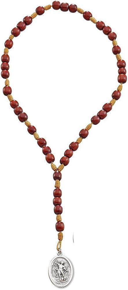 Catholica Shop Catholic Religious Wear I Catholic Religious St Michael Medal Chaplet Rosary for Prayer with Cherry Wood Beads I Beaded Rosary 9 Inches