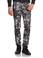 Versace Jeans Black Skinny Print Jeans, Black/White