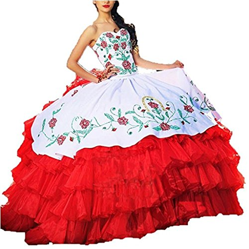 Beilite Vintage Embroidery Quinceanera Dress Ruffles Prom Ball Gown S2 Red 12