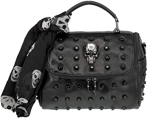 ABC STORY Women Punk Gothic Sheepskin Leather Retro Skull Purse Shoulder Handbag Black