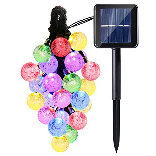 Icicle Solar String Lights Outdoor, 20ft 30 LED Solar Bubble Globe String Lights Fairy Lighting for Indoor/Outdoor, Patio, Lawn, Garden, Wedding, Party, Christmas Decorations (Multi-Color) - Three Olives Bubble