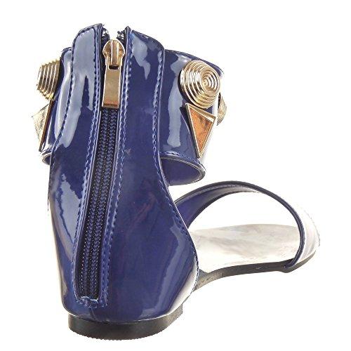 Sopily - Scarpe da Moda sandali Aperto alla caviglia donna borchiati metallico Moderno Tacco a blocco 1 CM - Blu