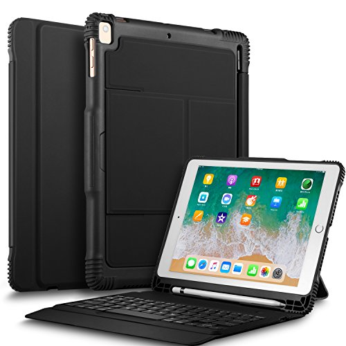 IVSO New iPad 9.7 2018 Case with Keyboard, Ultra-Slim Portable Detachable Wireless Keyboard Case with Stylus Holder for New iPad 9.7 2018/2017/iPad Pro 9.7/iPad Air 2/iPad Air Tablet (Best Ivso Ipad Air Keyboard Cases)
