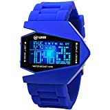 Digital Watches, Boys Watches, Colorful Light Sports Watch, Waterproof Military Stealth Fighter Style Wrist Watches Blue