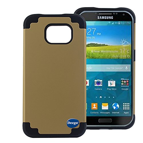 Galaxy S6 Cas,Nancy's Shop Premium Ultra Slim Hard PC + Soft Silicone 2-piece Dual Layer Bumper Hybrid Shockproof Scratch Protection heavy Duty Defender High Impact Body Armor Protective Cover(Gold)