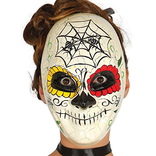 guirca – Day Of The Dead Mask for Halloween, Ivory, One Size (2554) -