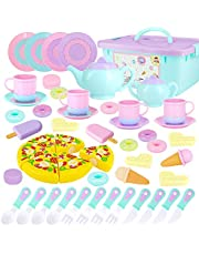 SevenQ 51 Pcs Toys Tea Set for Kids, Princess Tea Party Toy Play Food Toy for Girls and Boys Including Teapots, Teacups, Dishes, Cookies, Dessert