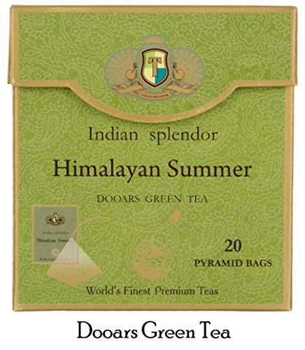 INDIAN SPLENDOR Himalayan Summer - Exclusively Handpicked, 100% Pure and Natural, Premium Dooars Green Tea Leaf (Light and Tangy) in Pyramid Tea Bags.