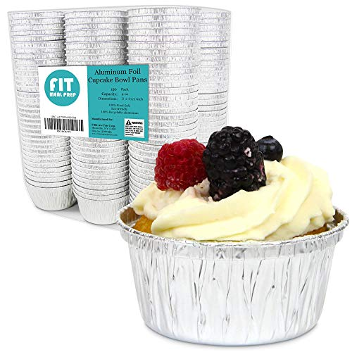 [150 Pack] Round 3 Inch 4 Ounce Aluminum Foil Cupcake Bowl Pans, Muffin Ramekin Utility Souffle Cup, Hot Cold Freezer Roasting Baking Oven Safe (Foil Cups)