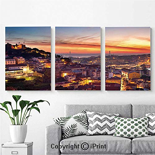3PCS Triple Decoration Painting Wall Mural Cityscape of Lisbon Portugal Traditional Seaside City Colorful Sky Sunset Evening View Living Room Dining Room Studying Aisle Painting,16