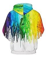 GLUDEAR Unisex Realistic 3D Digital Print Pullover Hoodie Hooded Sweatshirt,Rainbow,M