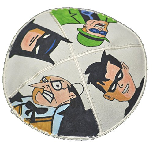 Hand-painted Kippah (Yarmulke) with Batman and Others from Artistic Crafts Shop