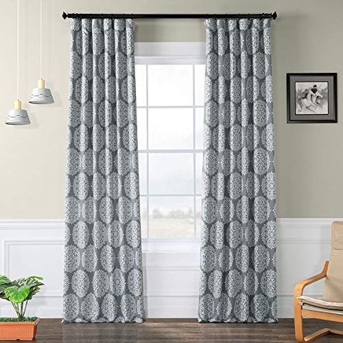 HPD HALF PRICE DRAPES BOCH-KC109A-84 Meridian Room Darkening Curtain 50 x 84 Meridian Grey 1 Panel ()