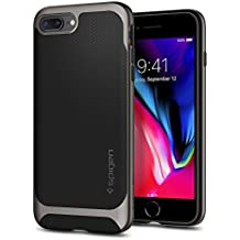Spigen Neo Hybrid Herringbone iPhone 8 Plus Case/iPhone 7 Plus Case with Hard Bumper Frame for Apple iPhone 8 Plus (2017)/Apple iPhone 7 Plus (2016) - Black & Gunmetal