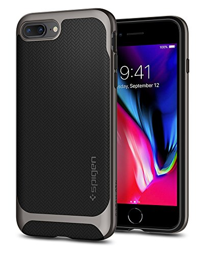 Spigen Neo Hybrid Herringbone iPhone 8 Plus Case/iPhone 7 Plus Case with Hard Bumper Frame for Apple iPhone 8 Plus (2017) / Apple iPhone 7 Plus (2016) - Black & Gunmetal