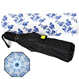 Kobold Travel Windproof UV Umbrella for Women with Double Canopy Blue Pattern