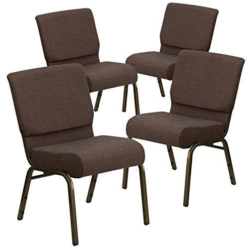 Flash Furniture 4 Pk. HERCULES Series 21''W Stacking Church Chair in Brown Fabric - Gold Vein Frame ()