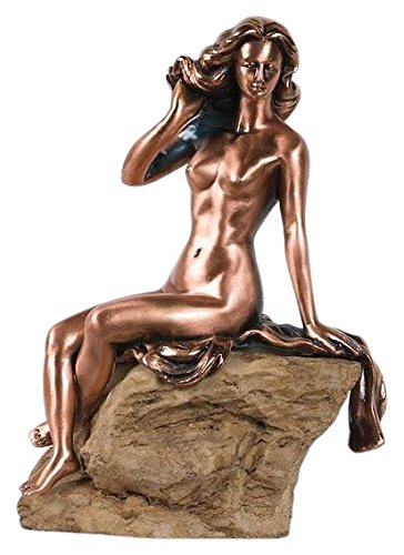"StealStreet SS-BA-C133 8.5"" Copper Color Nude Woman Sitting On Rock Statue"