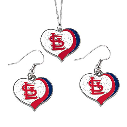 St Louis Cardinals MLB Sports Team Logo Charm Gift Glitter Heart Necklace and Earring - Charm Cardinals St Louis