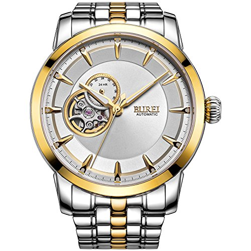 BUREI Men's Automatic Wrist Watches Timepieces with Gold Bezel and White Dial