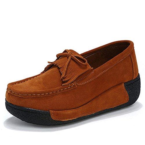 Enllerviid Enlleviid Mujeres Slip-on Mocasines De Conducción De Gamuza Mocasines Con Plataforma Comfort Walking Zapatos De Trabajo Sh606 Marrón