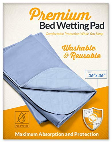 Zero Waste Moving Premium 36x36 Washable and Reusable Bed Wetting Pad. Designed to Protect Your Mattress and Sheets from Any Accidents 36, Light Blue