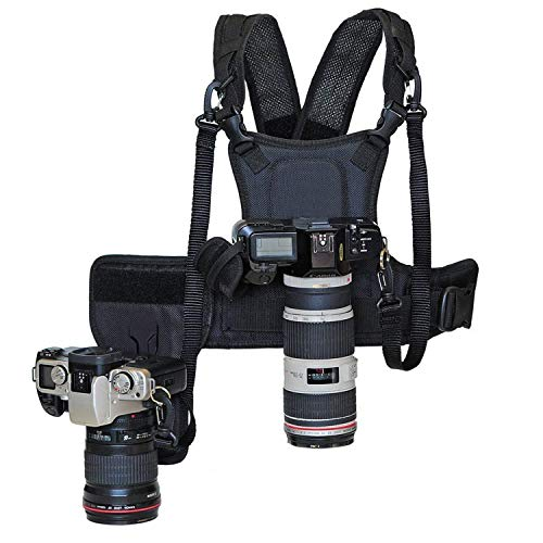 (Nicama Dual Camera Strap Multi Carrier Chest Harness Vest with Mounting Hubs, Side Holster & Backup Safety Straps for Canon 6D 5D2 5D3 Nikon D800 D810 Sony A7S A7R A7S2)