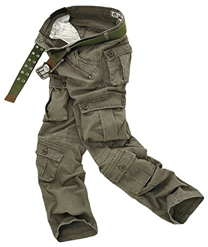 Cruiize Mens Outdoor Multi Pocket Relaxed Cargo Washed Casual Pant 5 34 - 5 Pocket Washed Corduroy Pants