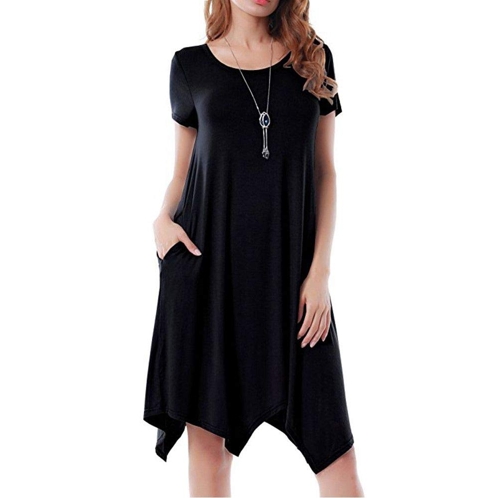 Women Casual Solid Pocket O-Neck Short Sleeve Midi Dress Summer Loose Irregular Office Party Dresses Beach Sundress Black