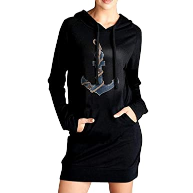 835ff980d71 Northern Nebula Anchor Women s Long Sleeve Hoodie Tunic Dress Solid  Pullover Loose Sweatshirt Long Tops Black
