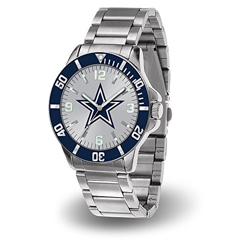 NFL Dallas Cowboys Key Watch with Stainless Steel Band and Team Logo (Ladies Cowboys Watches)
