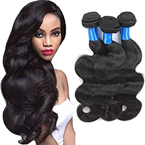 Superlove Brazilian Body Wave 3 Bundles 100% Human Hair Bundles 7A Unprocessed Brazilian Virgin Hair Natural Color Hair Extension(18 20 22)