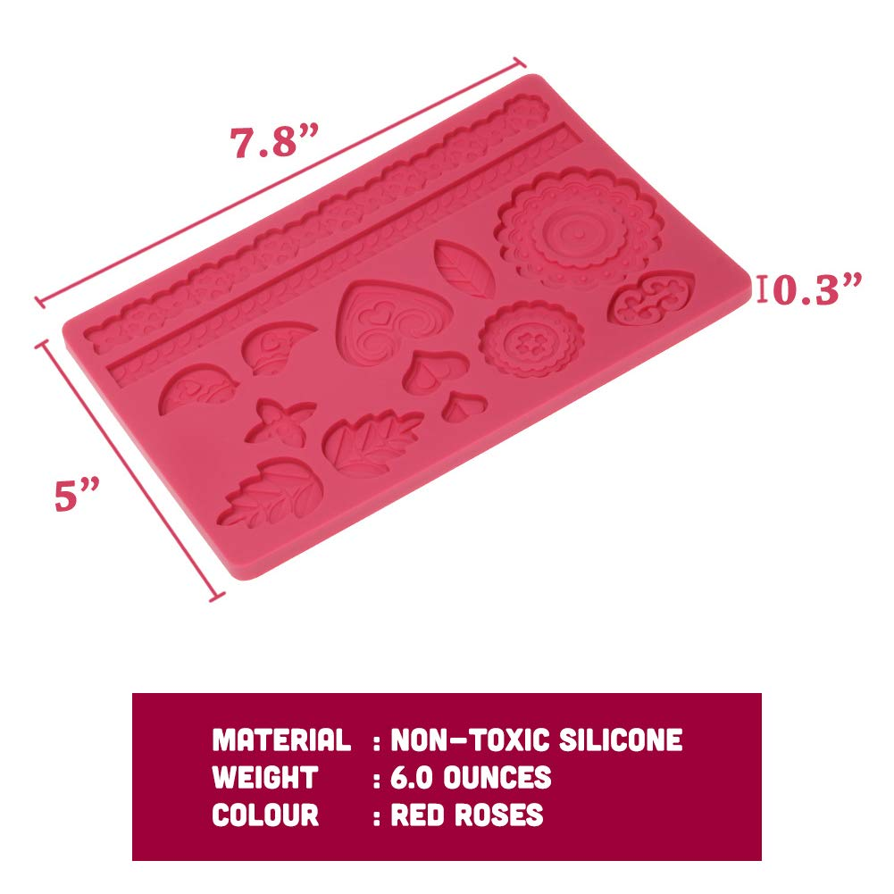 Set of 2 Silicone Molds Lace Fondant Cake Decorating Lacey Mold Mat Baking Mould Flower Pattern for Sugar Icing Sugarcraft Candy Chocolate Gum Paste