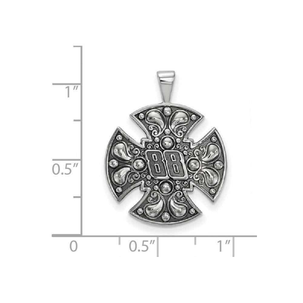 Roy Rose Jewelry Sterling Silver LogoArt Bali-style Maltese Cross ~ NASCAR # 88 Pendant