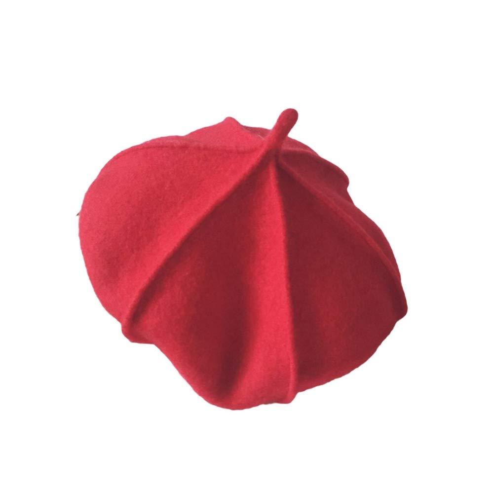 BOBORA Parent-Kids Matching Beret Cap Kids Adults Wool Fleece Warm Hats for Winter BO-UK910