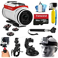 TomTom Bandit 4K HD Action Camera with Extreme Sports Accessories Kit includes 64GB MicroSD Card + Selfie Stick + Head Strap + Floating Handle + Stabilizer + Car Mount + More!
