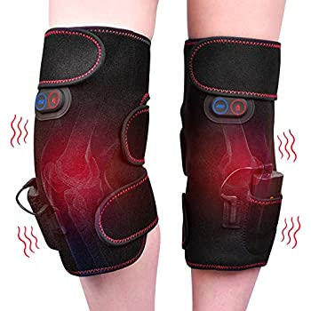 Wireless Heated Knee Wrap Knee Massager Heated Vibration Knee Pads for Pain Relief - Arthritis Injury Recovery - 2pcs for Left and Right - Powered by Portable Charger