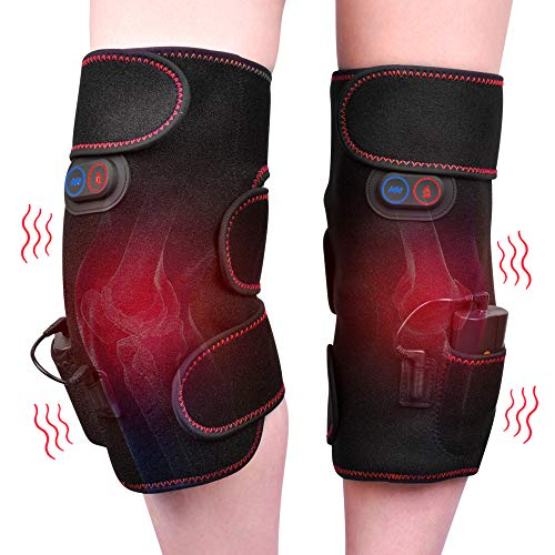 Wireless Knee Massager Heated Vibration Therapy Knee Brace Wrap Knee Physiotherapy Massager for Pain Relief – Arthritis Injury Recovery – 2pcs for Left and Right – Powered by Portable Charger
