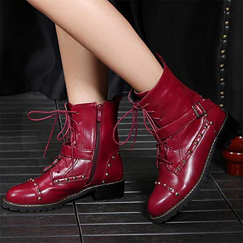 Low Zip Round Women's Fashion Heel Kaloosh Buckle Martin Heel PU Square Lace up Boots 1red Toe Strap wIqxOUFx
