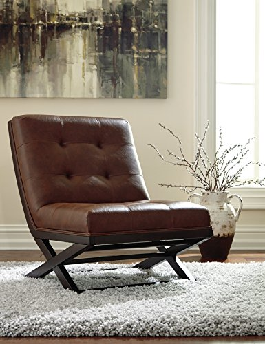 Farmhouse Accent Chairs Signature Design by Ashley – Sidewinder Accent Chair – Tufted Faux Leather – Brown farmhouse accent chairs