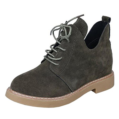 Binying Women's Round-Toe Flat Lace-up Ankle Boots Green