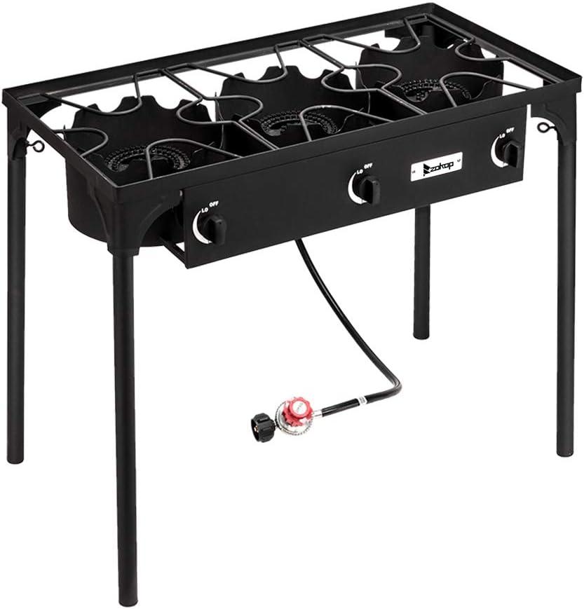 Xiaolizi Outdoor Camp Stove High Pressure Propane Gas Cooker Portable Cast Iron Patio Cooking Burner (Three Burner 225000-BTU)