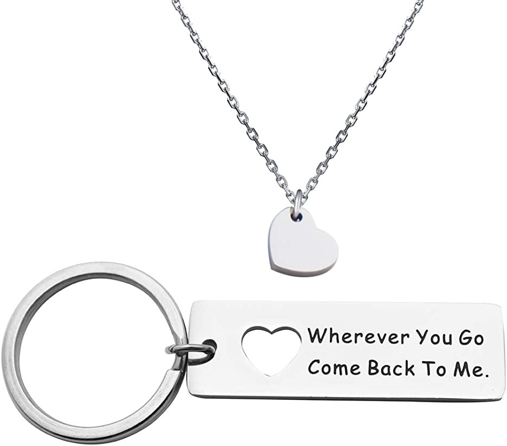 Boyfriend Gift Wherever You Go Come Back to Me Keychain Moving Away GiftFriend Gifts