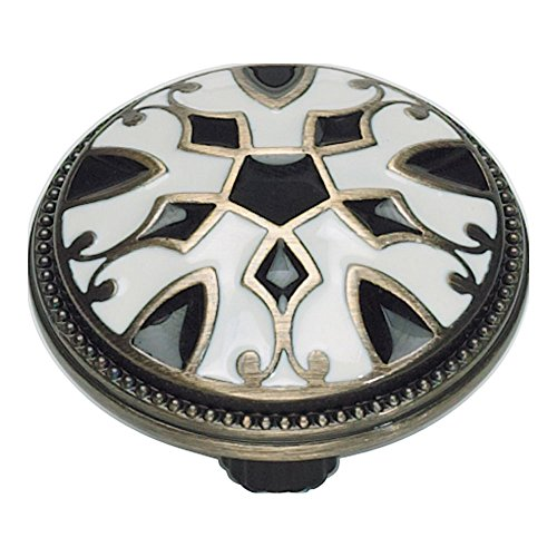 Atlas Homewares 3186-B/W 1.5-Inch Canterbury Knob from The Canterbury Collection, Antique Brass Material with Enameling Lacquer, Black and White