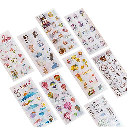 12 Sets (6 Sheets/Set) Kawaii Floral Food Fruit Travel Hot Air Balloon Weather Kitchenware Cat Dog Pet Lemon Cherry Blossom Rabbit Plant Stationery Sticker Cute Kids DIY Label School Office Supplies