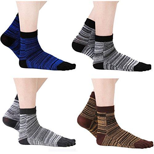 Laviesimple Men Cotton Five Finger Toe Socks Athletic Running Striped Crew Quarter Colored 4 Pack