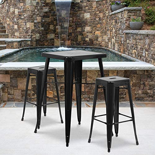 Flash Furniture Commercial Grade 30″ High Backless Black Metal Indoor-Outdoor BarStool