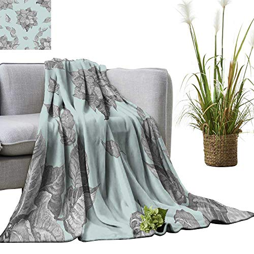 YOYI Home Fashion Blanket Grey Poinsettia Flower on a Blue backgroun for a backgroun or Wallpaper Lightweight Blankets for Couch Bed Sofa 70
