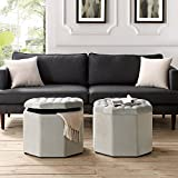 Inspired Home Nova Grey Velvet Storage Ottoman – Upholstered | Tufted | Livingroom, Entryway, Bedroom