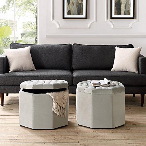 Cheap Inspired Home Nova Grey Velvet Storage Ottoman – Upholstered | Tufted | Livingroom, Entryway, Bedroom
